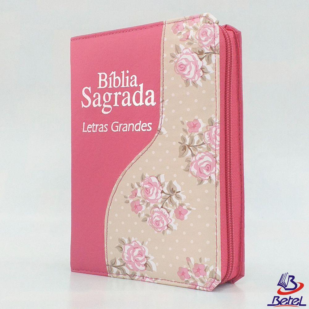 Bíblia Letra Grande ARC Zíper (Rosa Flor)  - Livraria Betel