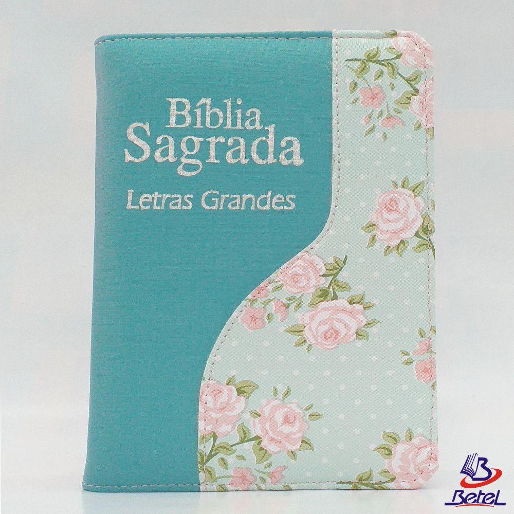 Bíblia Letra Grande ARC Zíper (Verde Água Flor)  - Livraria Betel