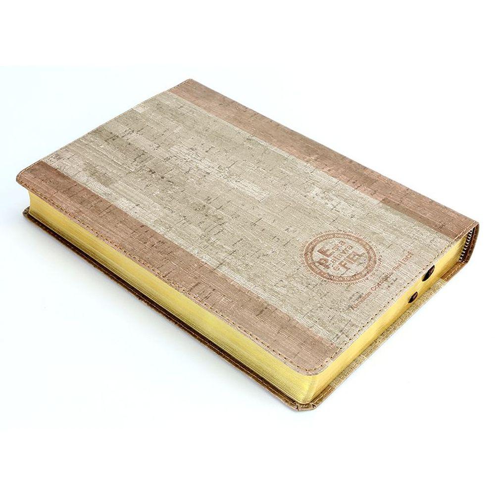 Bíblia SBTB ACF RCM Letra Gigante Luxo Couro (Cortiça/Madeira)  - Livraria Betel