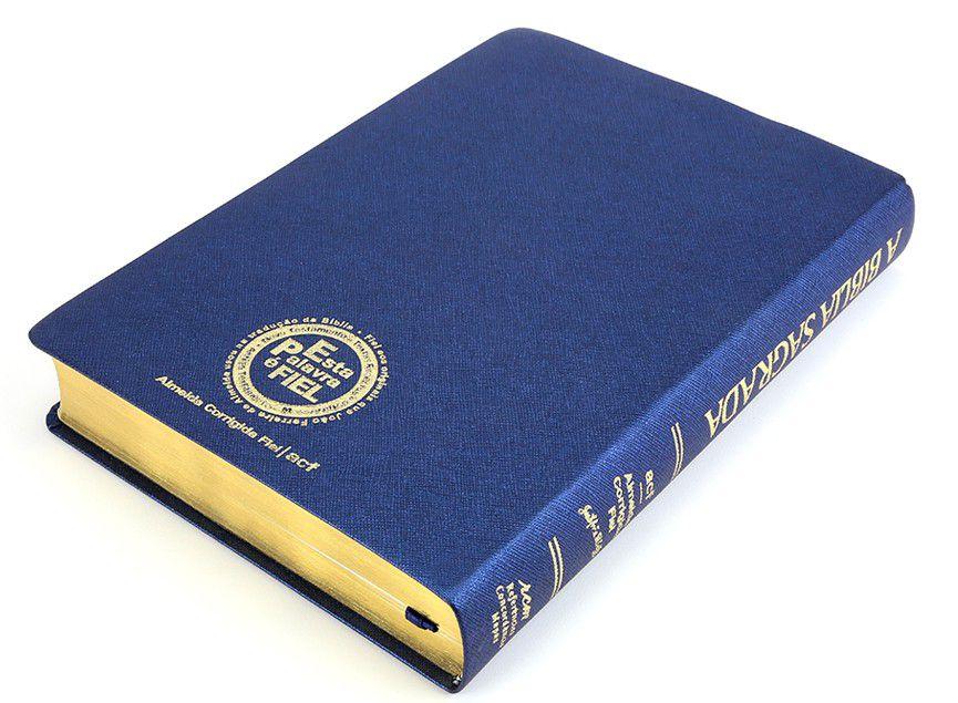 Bíblia SBTB ACF RCM Letra Gigante Luxo Couro (Azul)  - Livraria Betel