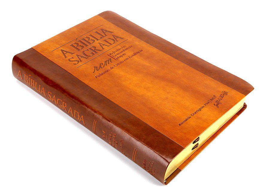 Bíblia SBTB ACF RCM Letra Gigante Luxo Couro (Chocolate)  - Livraria Betel