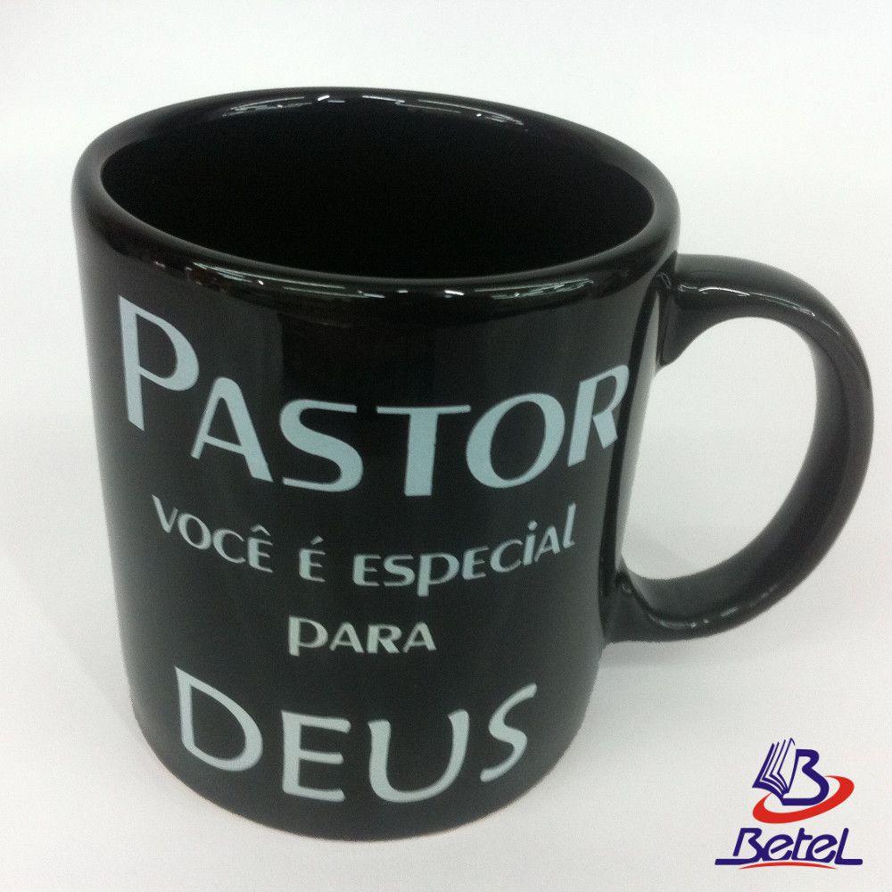 """Caneca Porcelana Grande """"Pastor"""" (Preta)  - Livraria Betel"""