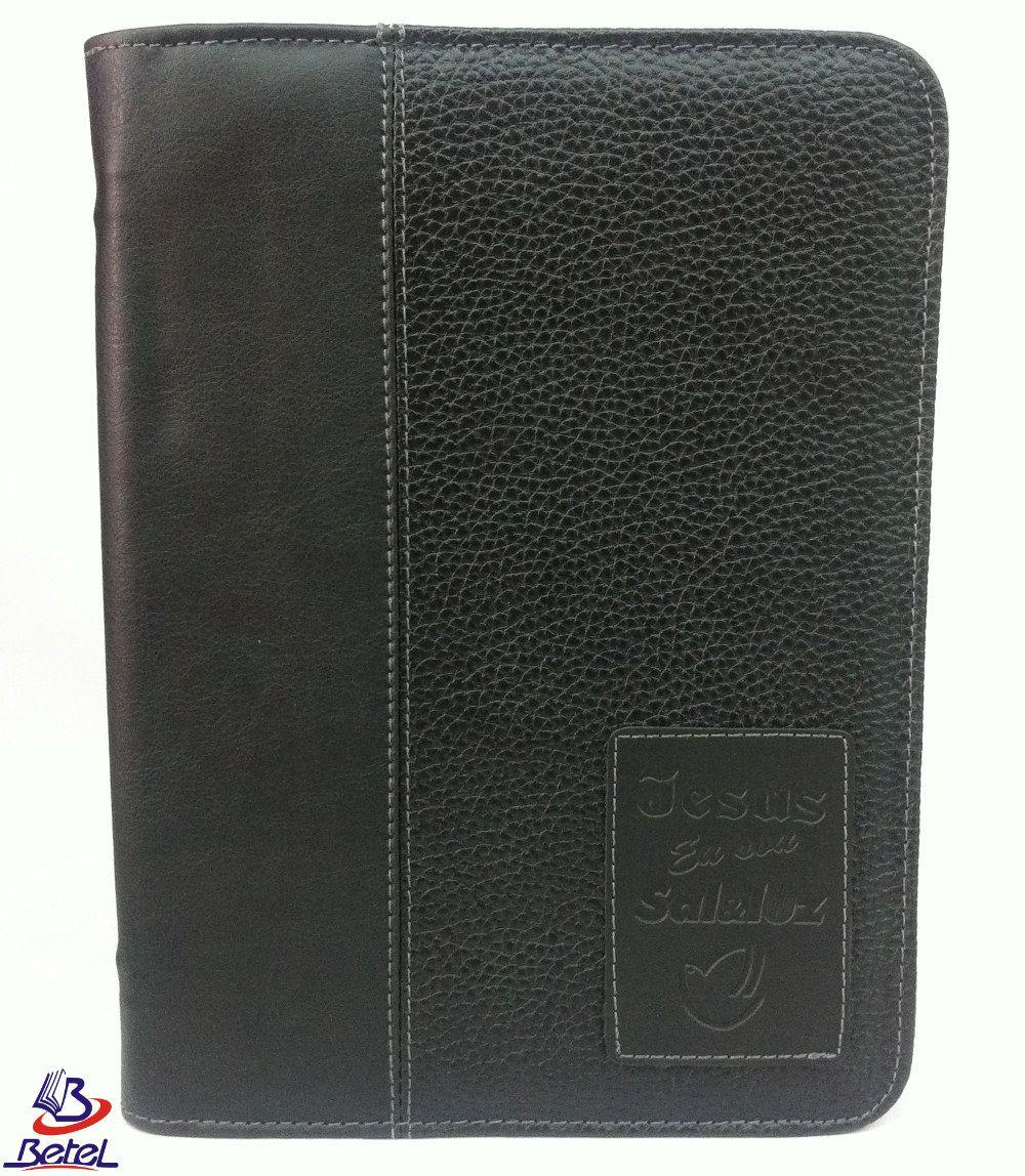 Capa para Bíblia Luxo Gigante Couro Zíper M-03  - Livraria Betel