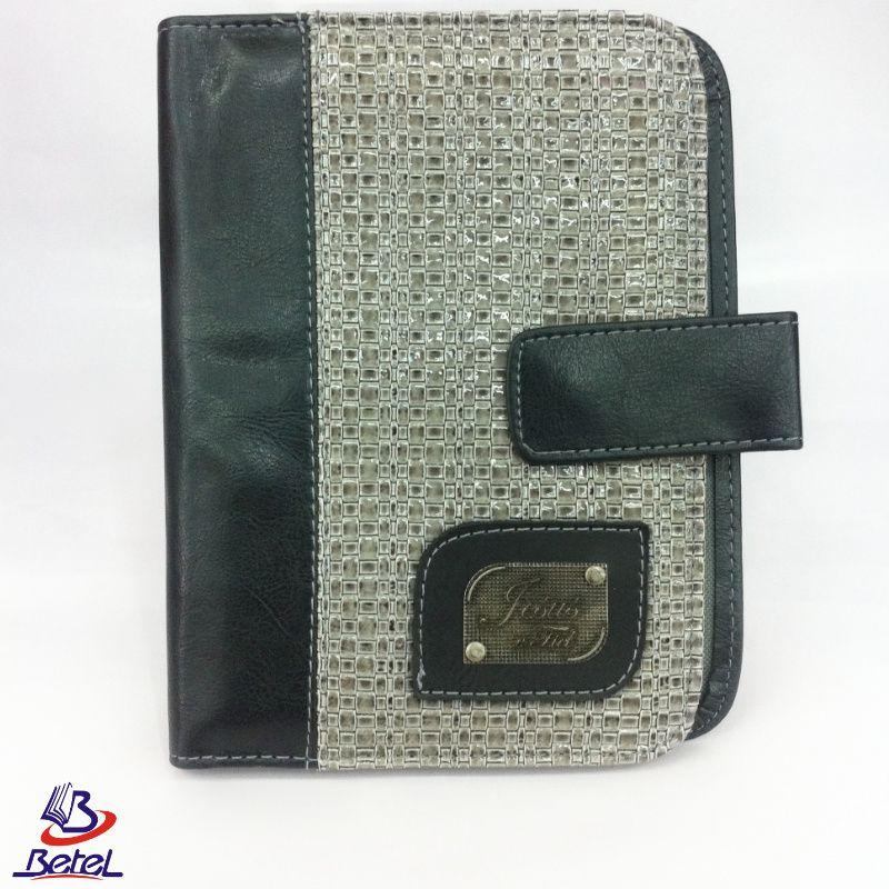 Capa para Bíblia Luxo Pequena Couro Fecho Botão M-01  - Livraria Betel