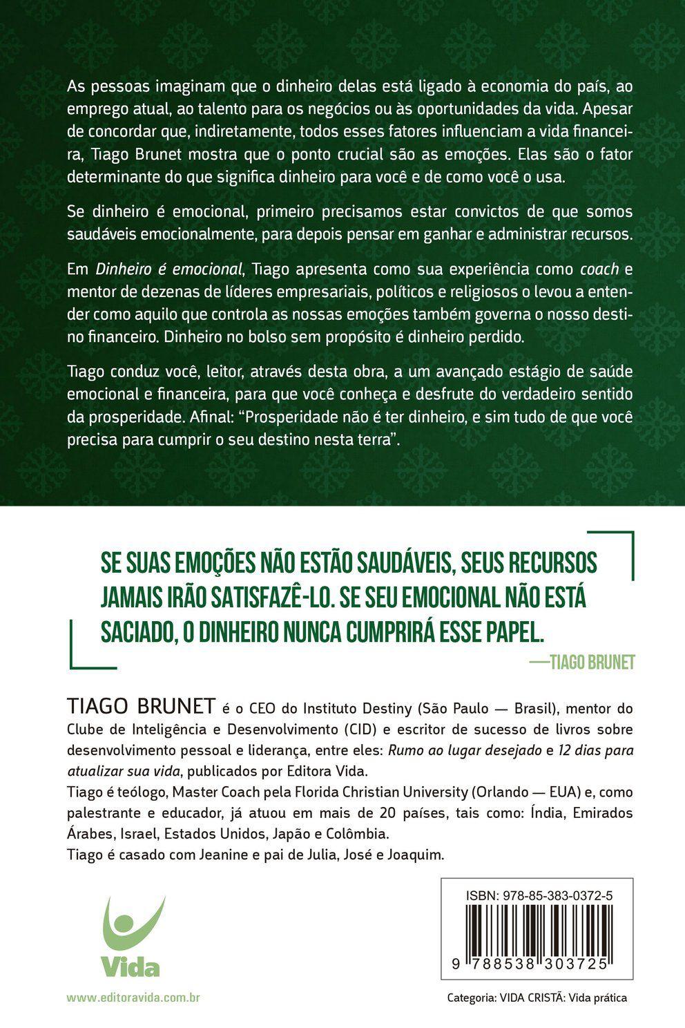 Livro Dinheiro é Emocional - Tiago Brunet  - Livraria Betel