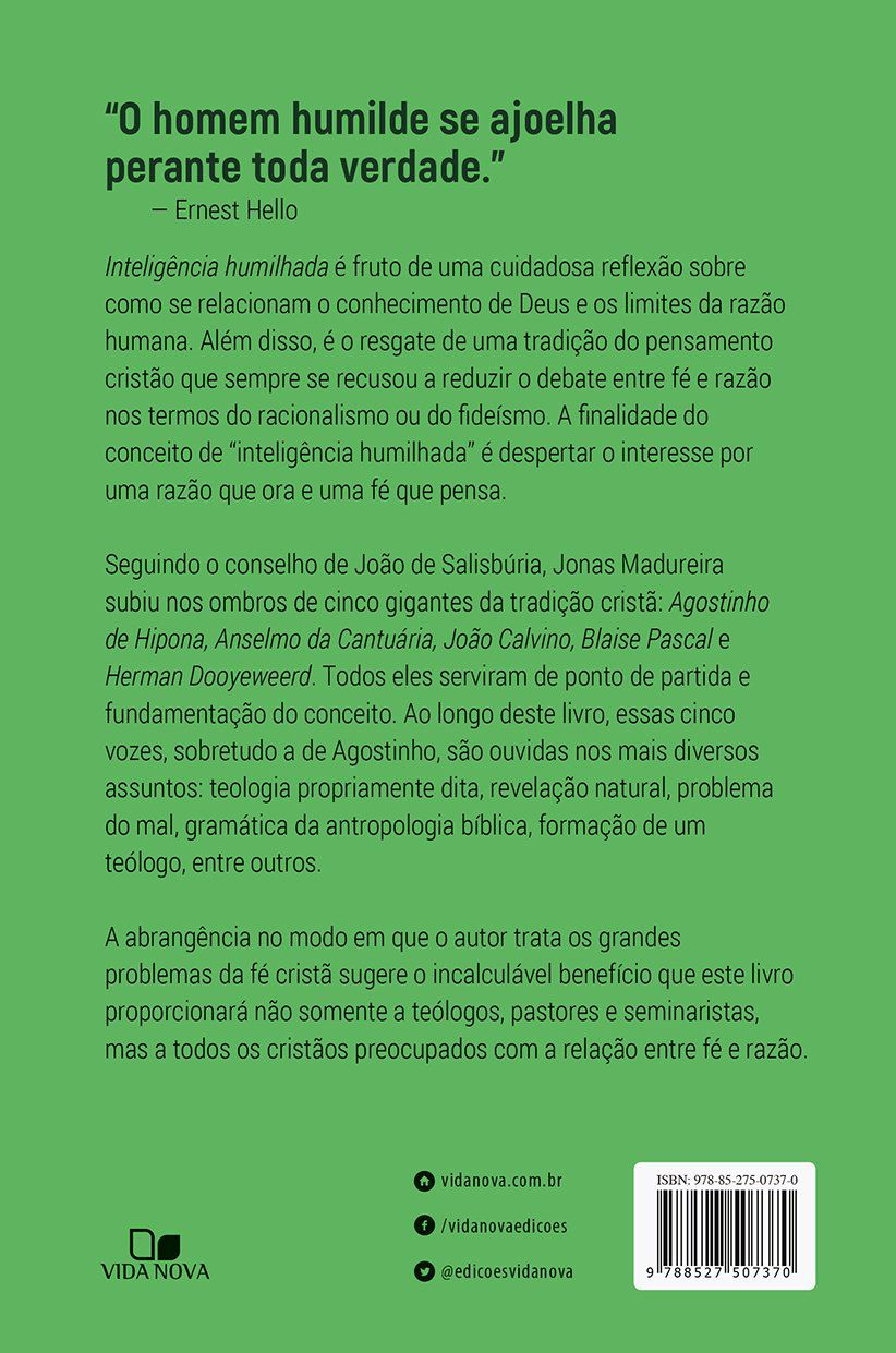 Livro Inteligência Humilhada - Jonas Madureira  - Livraria Betel