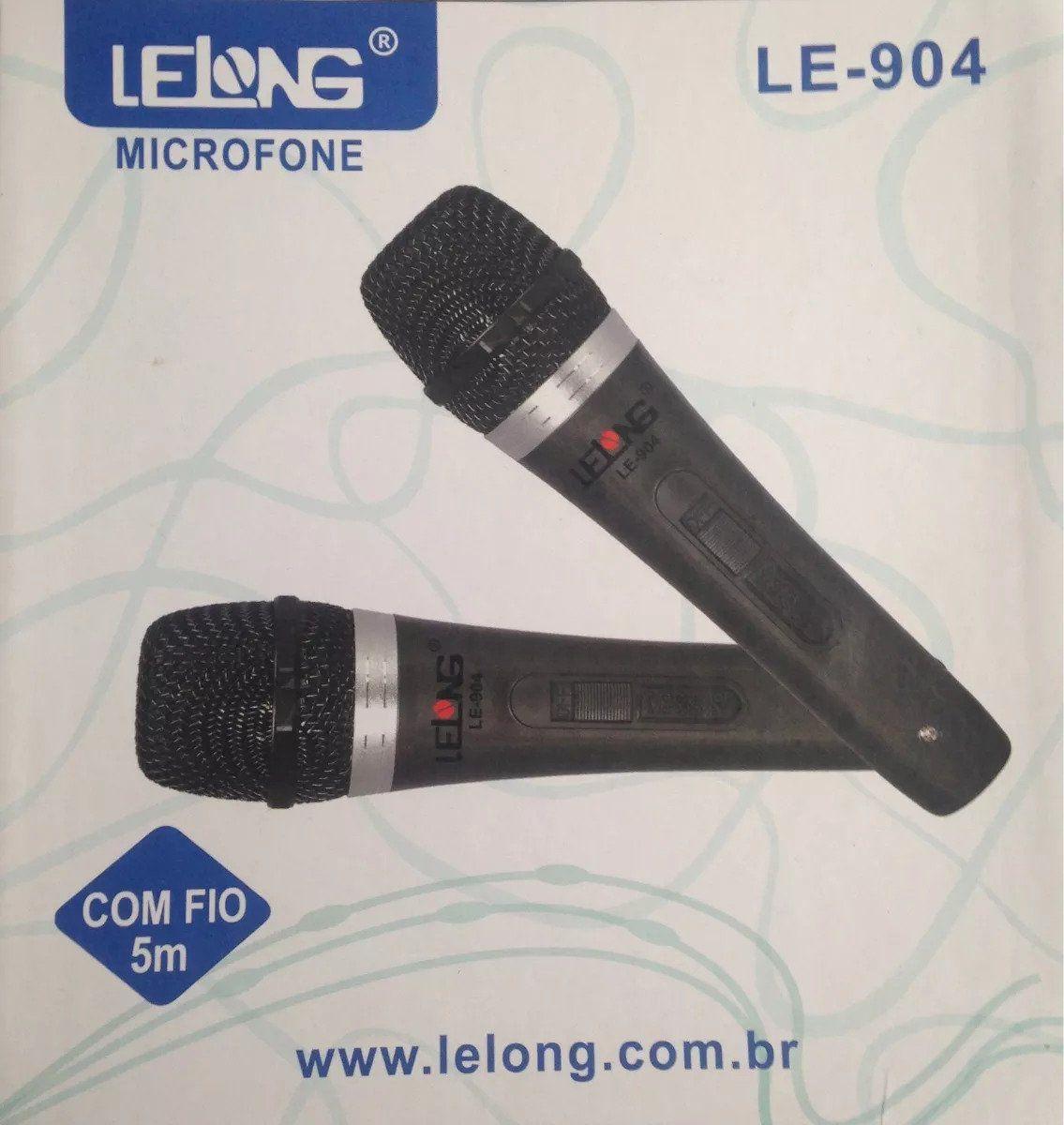 Microfone LeLong Duplo Com fio LE-904  - Livraria Betel
