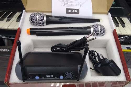 Microfone MXT Duplo Sem Fio de Mão Profissional UHF-202  - Livraria Betel
