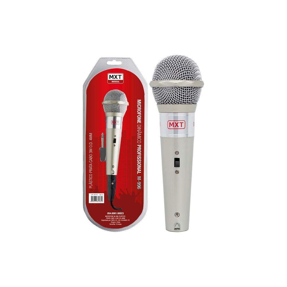 Microfone Profissional Mxt M-996 Dinâmico C/ Cabo 3,0 Metros  - Livraria Betel