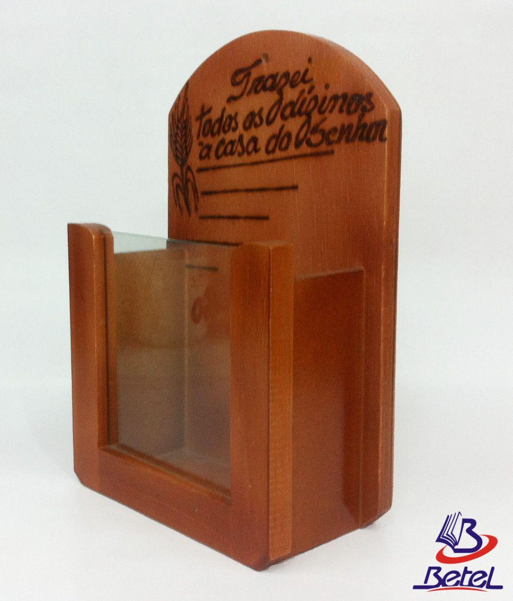 Porta-Envelopes para Dízimos em Madeira Envernizada c/ Vidro  - Livraria Betel