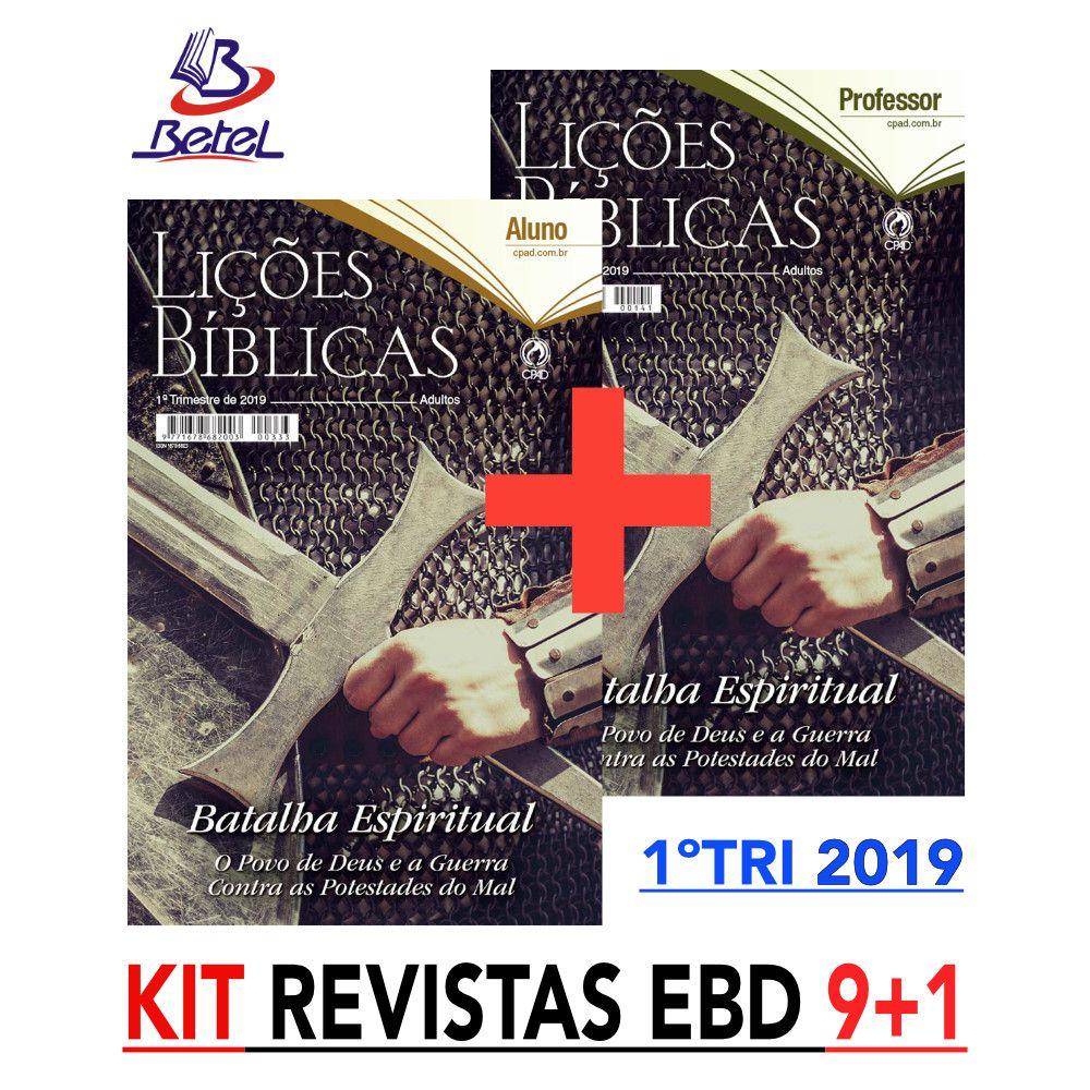 Revista CPAD Lições Bíblicas EBD 1° TRIM. 2019 (Kit 9 ALUNOS + 1 PROF.)  - Livraria Betel