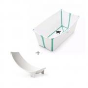 Banheira Dobrável Transparente Verde + Suporte Stokke