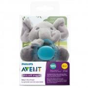 Chupeta Ultra Soft Azul + Pelúcia Elefante +0m Philips Avent