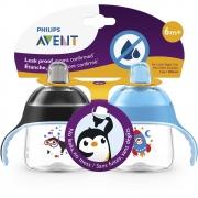 Copo Pinguim 200ml +6m Preto/Azul 2und Philips Avent