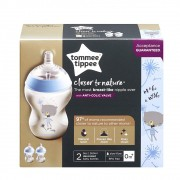 Kit 2 Mamadeiras Closer Nature 260ml +0m Urso c/2 Tommee Tippee
