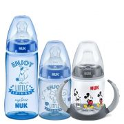 Kit Mamadeiras My First 150ml + 300ml Azul + Copo Treinamento 150ml Mickey Nuk