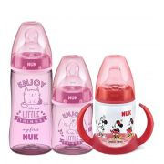 Kit Mamadeiras My First 150ml + 300ml Rosa + Copo Treinamento 150ml Minnie Nuk