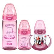 Kit Mamadeiras My First 150ml + 300ml Rosa + Copo Treinamento 150ml Minnie Romero Nuk
