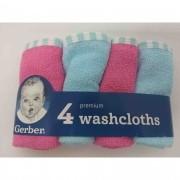 Lencinhos Washcloths Premium Azul e Rosa 4 Peças Gerber