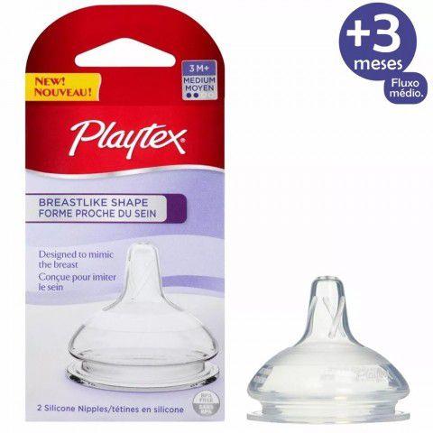Bico De Mamadeira Shape +3 Meses Fluxo Médio C/2 Playtex