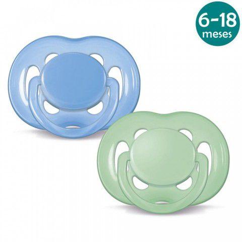 Chupeta Freeflow 6-18meses c/2 Azul/Verde Philips Avent