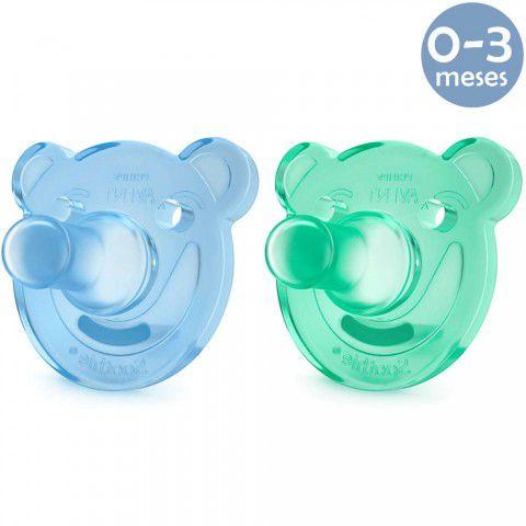 Chupeta Soothie Urso 0-3meses Azul c/2 Philips Avent