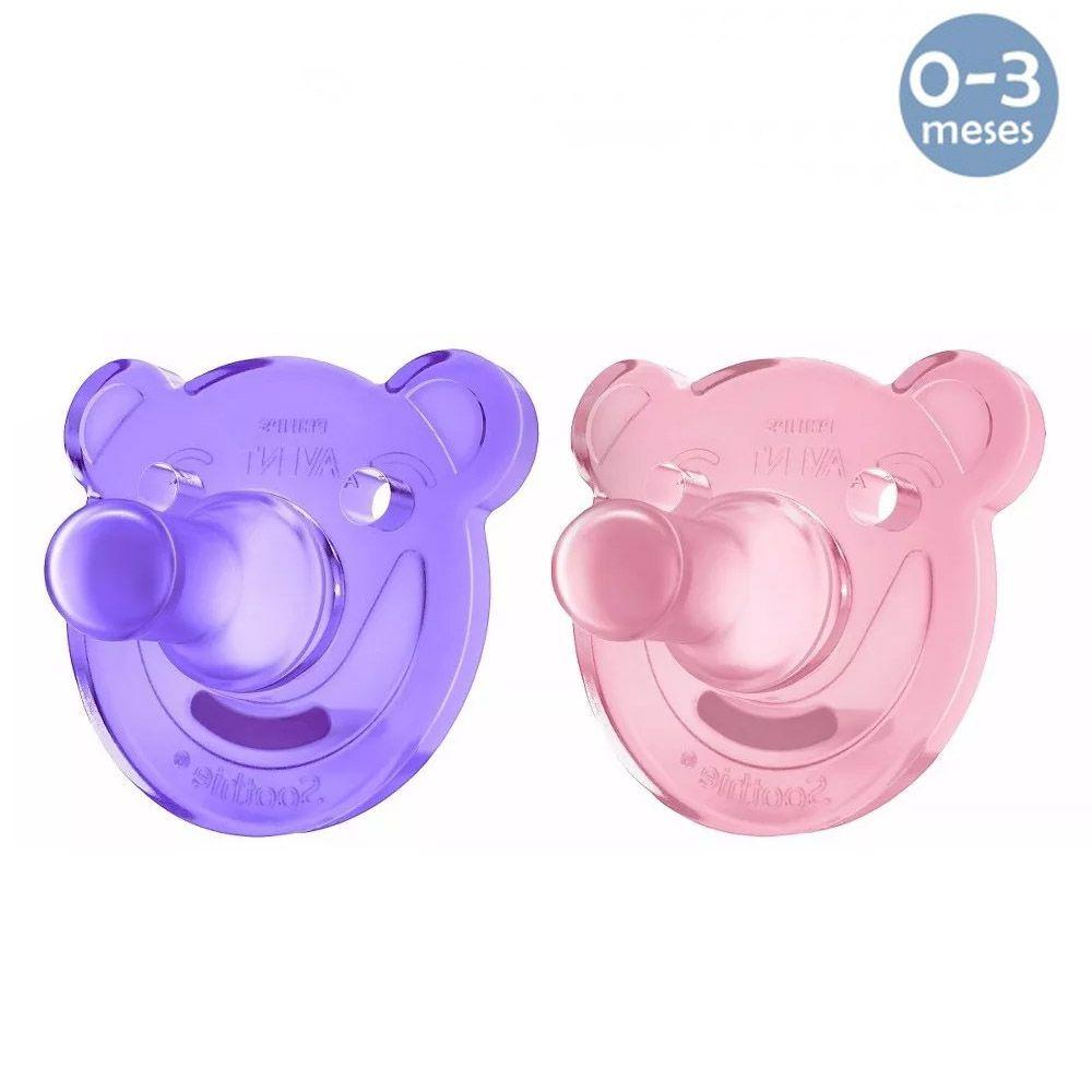 Chupeta Soothie Urso 0-3meses Rosa c/2 Philips Avent