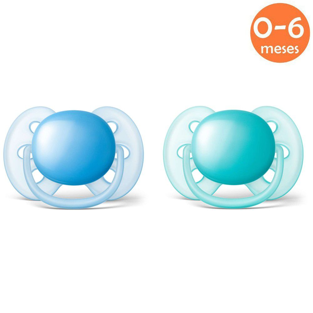 Chupeta Ultrasoft 0-6meses c/2 Azul Philips Avent