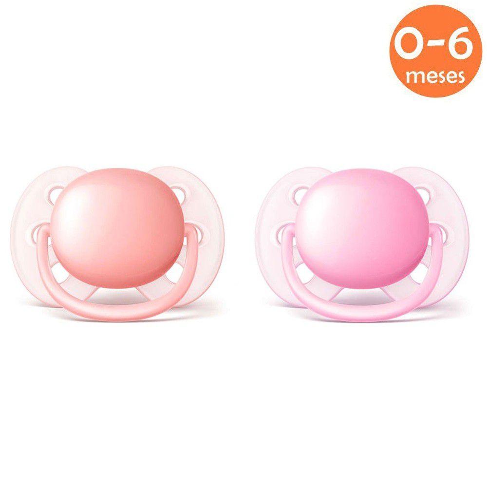 Chupeta Ultrasoft 0-6meses c/2 Rosa Philips Avent