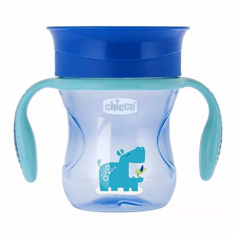 Copo Perfect Cup Azul Hippo 200ml +12m 360º Chicco