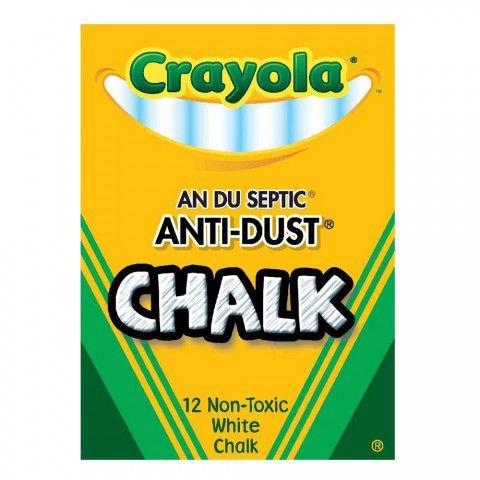 Giz Chalk Para Quadro Negro Branco Sem Poeira c/12 Crayola