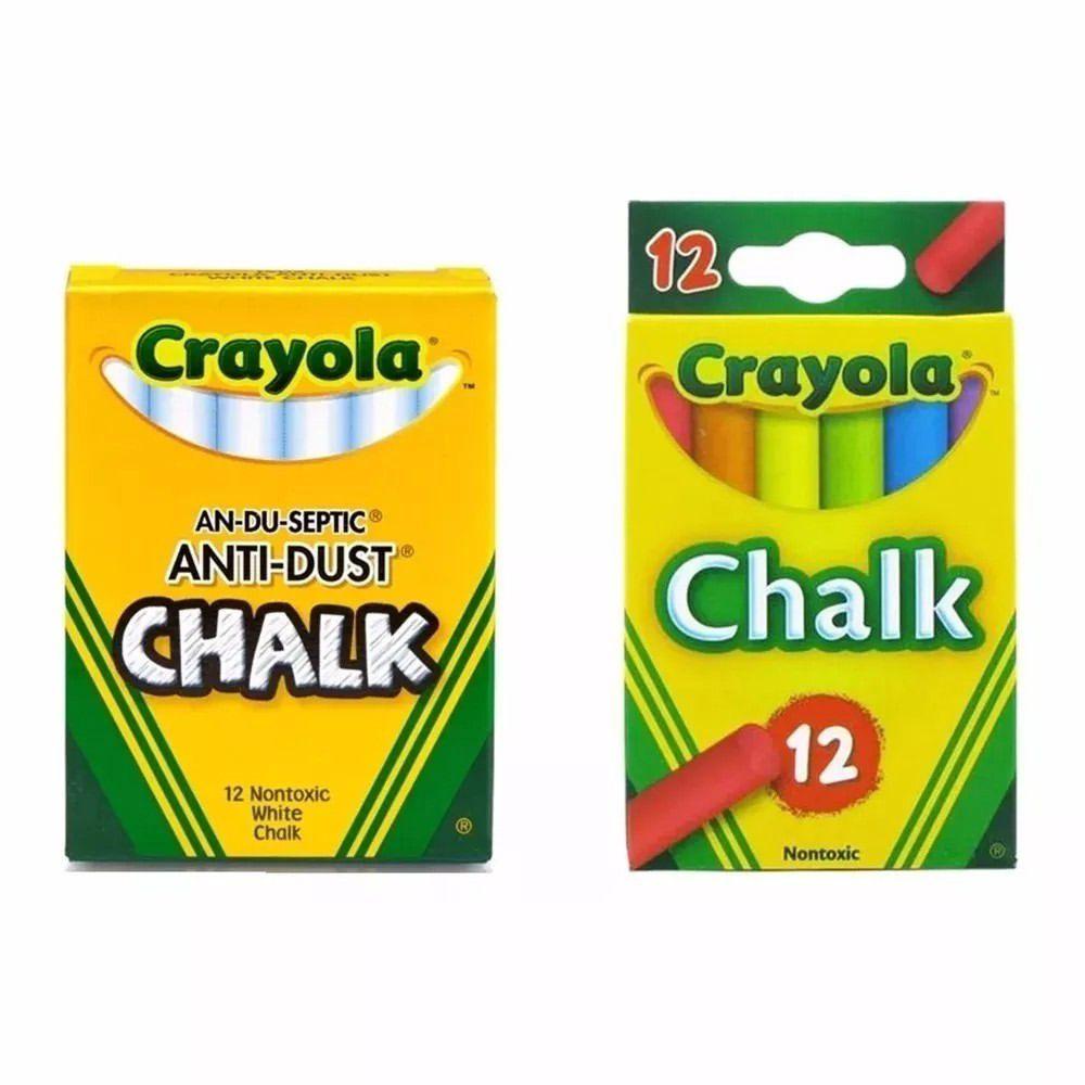 Giz Para Quadro Negro Crayola Branco c/12 + Colorido c/12