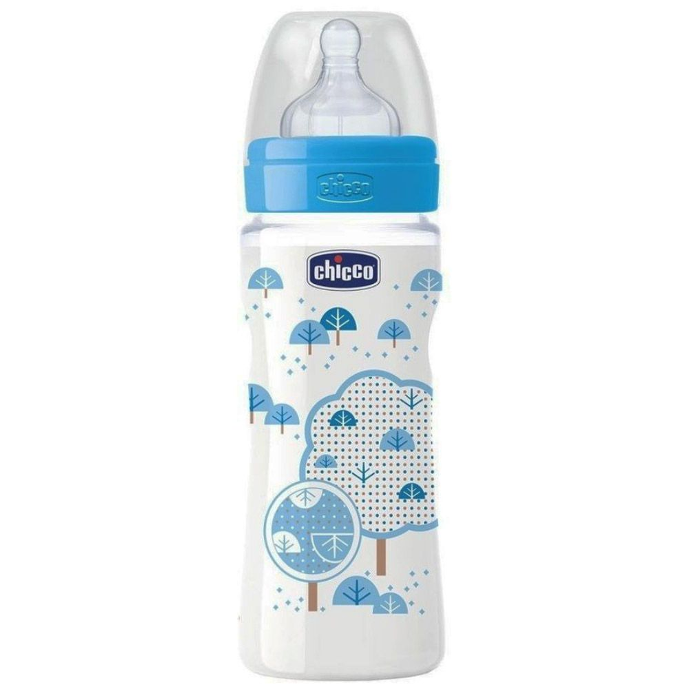 Mamadeira Well-being 330ml +4meses Azul Chicco