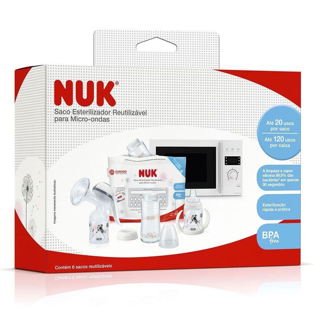 Saco Esterilizador Para Microondas Reutilizável C/6 Nuk