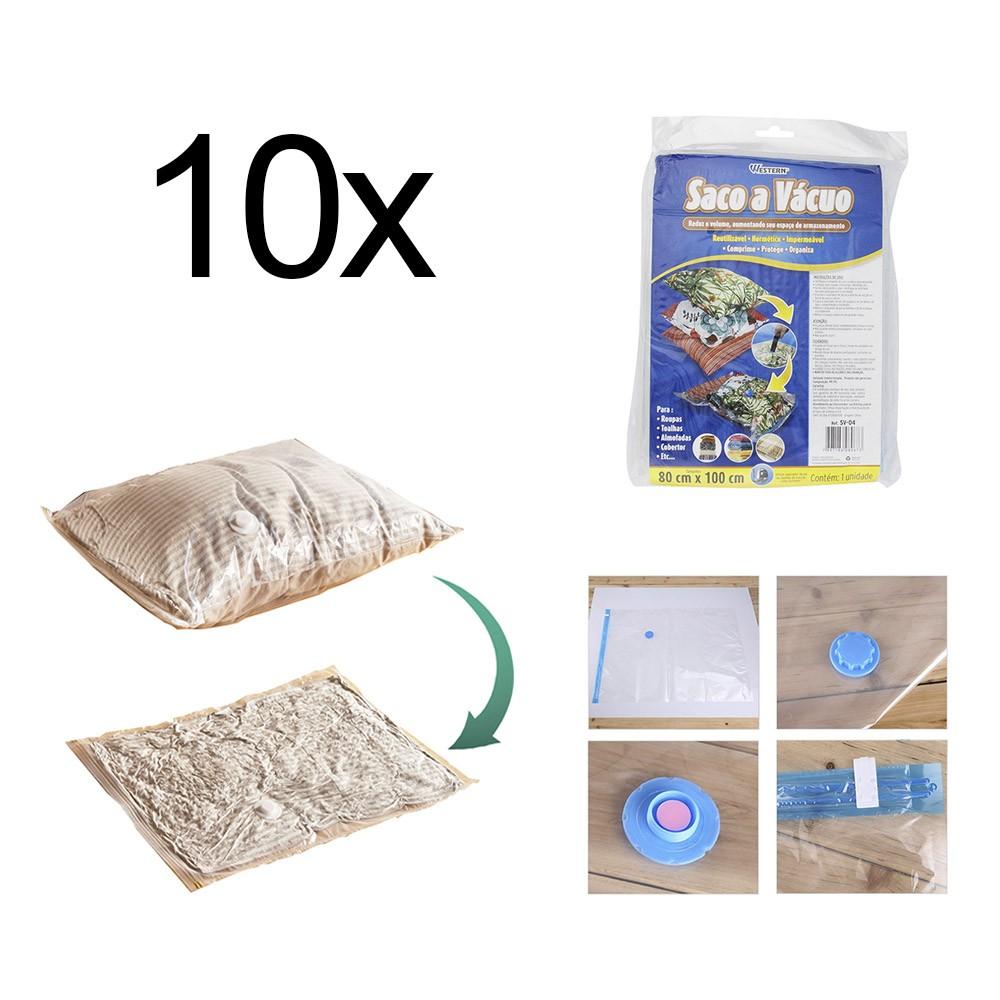 Saco A Vácuo Roupa Viagem 80 x 100cm Reutilizável 10 Peças