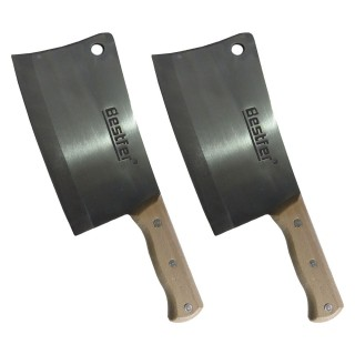Cutelo Tipo Artesanal Furo Aço Manganês 8 Pol 2 Peças