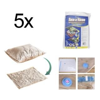 Saco A Vácuo Roupa Viagem 80 x 100cm Reutilizável 5 Peças