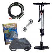 Conjunto Bicicleta Bomba de Ar Manual Chave de Boca Capa E Trava