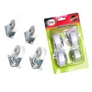 Conjunto de Rodas 2 Giratórias 2 Fixas 1,5Pol Plástico Idea Cód.ID-4324R