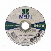 Disco de Corte Para Aço Inox 115x1,0x22,2mm Melfi Cód.0706