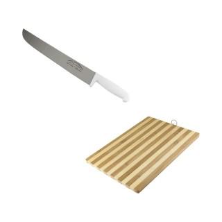 Faca de Aço Inox 10Pol + Tábua de Carne com Pendurador