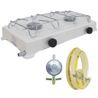 Fogão Portátil A Gás Branco + Regulador de Gás com Mangueira