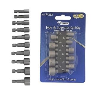 Jogo Bits Soquetes Canhão Parafusadeira 10 Peças 4 à 13mm