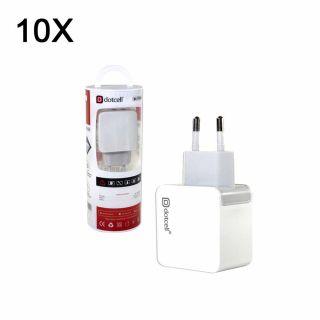 Jogo Com 5 Carregadores USB Celular Bivolt 2.1A 2 Saídas