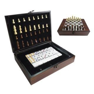 Jogo de Xadrez e Dominó com Maleta Madeira e Peças de Osso