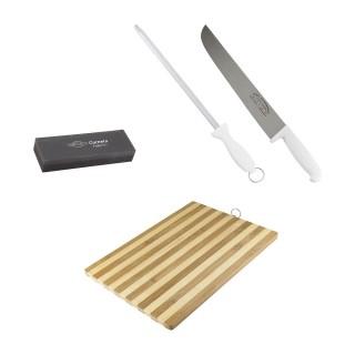 Kit com Faca, Chaira, Pedra de Afiar e Tábua de Carne