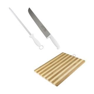 Kit com Faca de Inox, Chaira de 10Pol e Tábua de Carne