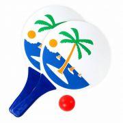 Kit Frescobol Lazer Com 2 Raquetes De Praia E 1 Bola