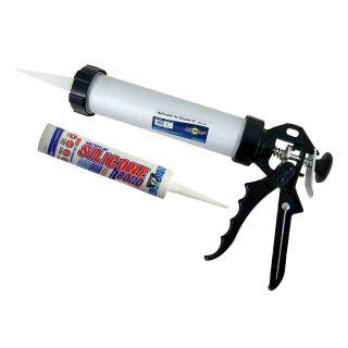 "Pistola Aplicador Silicone Tubular 9"" Profissional + Tubo"
