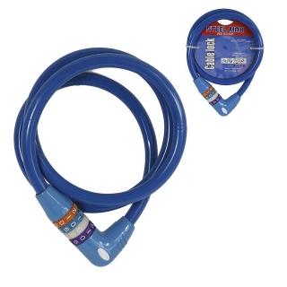 Trava Antifurto Azul Cabo De Aço Para Bicicleta 12x1200mm